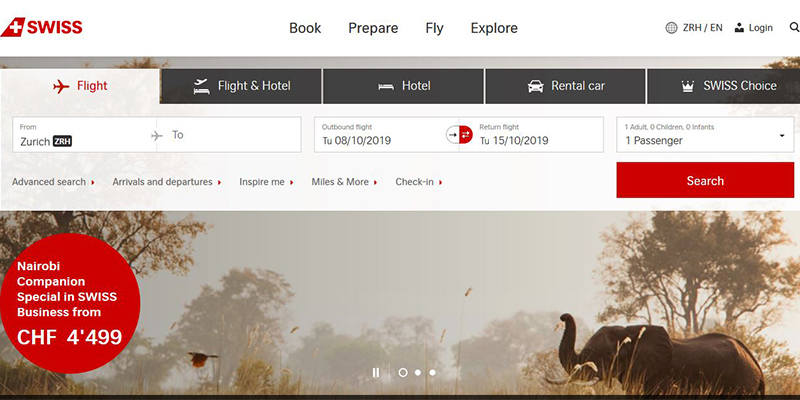 Swiss Air Website Design