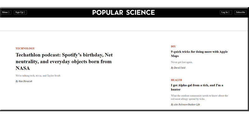 Popular Science Website Design